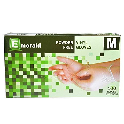 Emerald Shannon Powder Free Vinyl Gloves 100 Gloves (Medium #VN9706)