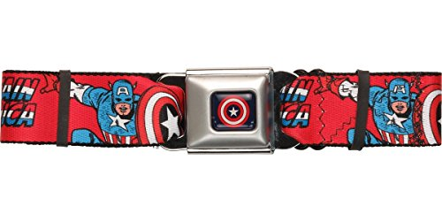 Buckle-Down Seatbelt Belt - Captain America w/Shield/Text Repeat