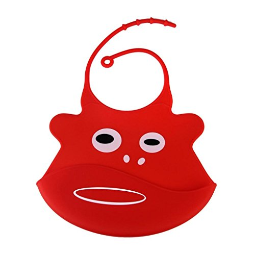fullkang-cartoon-baby-skin-aprons-eat-solid-convenient-silicone-waterproofing-aprons-bib-red
