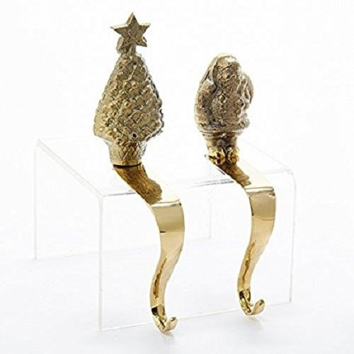 Tree Stocking Hanger (Brass Santa And Christmas Tree Stocking Hanger Set Of 2)