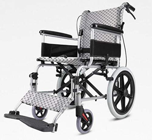 JBHURF Rollstuhl, der den leichten älteren tragbaren Rollwagen älterer untauglicher Aluminiumlegierungsroller for die älteren untauglichen Personen faltet (Color : Gray)