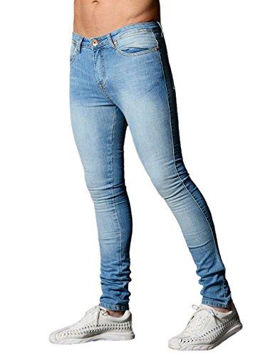 Pencil Men Jeans - XARAZA Men's Skinny Slim Fit Stretch Jeans Denim Pencil Pants (Light Blue, US 32)