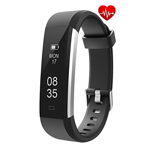 er, Waterproof Activity Tracker Watch with Heart Rate Pedometer Calories and Sleep Monitor, Slim Step Counter Wristband Smart Watch for Women Men Kids - Black ()