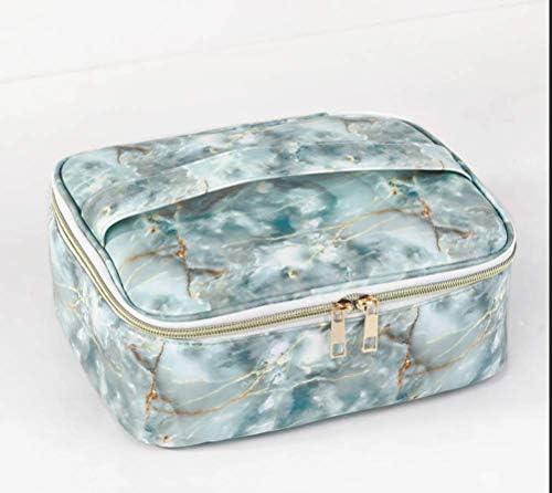 PUの防水貯蔵袋 1pc 20 * 24 * 9cm(緑) waterproof、二重ジッパー 旅行貯蔵の洗浄袋 大理石の化粧品袋 Yellow 20*9*24CM