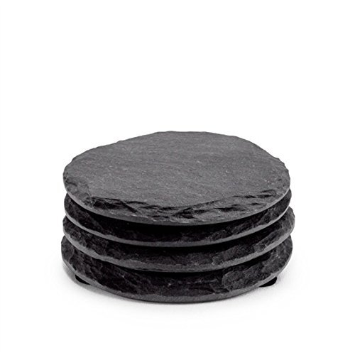 Round Slate Coasters by EMEMO - Set of 4 Unique, Handmade Coasters For Drinks, Beverages, Wine Glasses - Elegant Look & Unmatched Furniture Protection - Made Of Genuine Black Slate