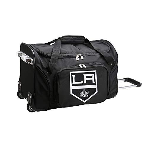 (NHL Los Angeles Kings Wheeled Duffle Bag, 22 x 12 x 5.5, Black)