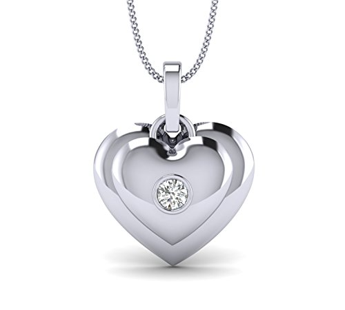 Fehu Jewel 0.11cts Natural Diamond Gold Over Sterling Silver Heart Pendant for Women (White-Gold-Plated-Silver)