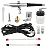 WST 3 Tips Gravity Dual Action Airbrush Kit for Tattoo Makeup Compressor Kit