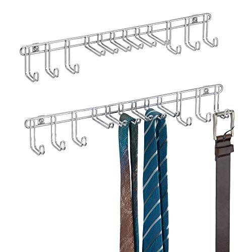 mDesign Wall or Door Mounting Small Metal Wire Inside Closet Hanging Organizer Hook Racks for Mens Neck Ties, Belts - Pack of 2, Chrome