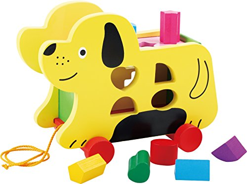 TOWO Wooden Pull Along Dog with Shape Sorter - Wooden Pull Along Toys for 1 Year Old - Wooden Pull Along Toys for Toddlers-Educational Toys for Baby-Early Learning Toys (Pull Along Toys For A 1 Year Old)