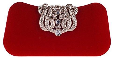 Bettyhome Women Luxurious Rhinestone Crown Velvet Clutch ...