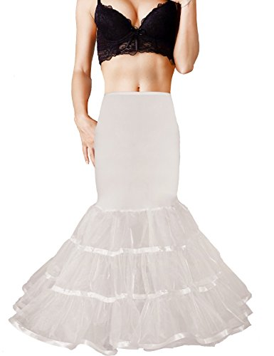 Shimaly Women's Mermaid Petticoat Fishtail Underskirt Trumpet Petticoat for Wedding Dress (S-M,Ivory) (Slip For Wedding Dress)