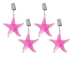 Pesos Mantel Mantel plana Estrella de mar Juego de 4Rosa