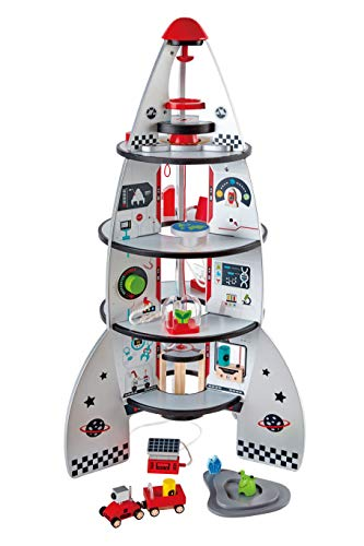 Four Stage Toddler Rocket Ship Playset by Hape | Award Winning Wooden Spaceship Toy with Real Life Space Shuttle Designs, 20 Rocket Space Center Pieces and Planetary -