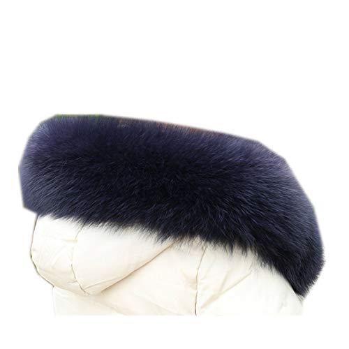 Gegefur Women Real Fox Fur Collars+Cuff for Coat Coat Solid Scarves Women's Fashion Warm Genuine Fox Fur Winter Scarf (8012cm, dark blue)
