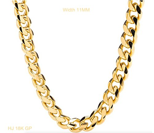 Gold-chain-necklace-10MM-Smooth-Cuban-Curb-Link-for-Men-Hip-hop-Women-Tarnish-resistant-Lobster-Clasp-USA-made-Buy-once-Keep-for-life-24