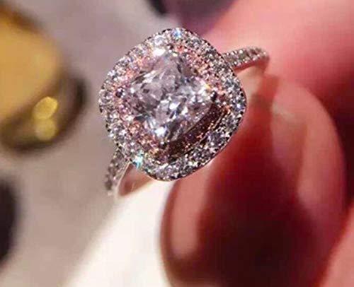 crown Jewlery Women Ring Engagement Wedding Ring Radiant Cut Pink Cubic Zirconia Surround Stunning 4 ct.tw - Nickel Free (9.5)