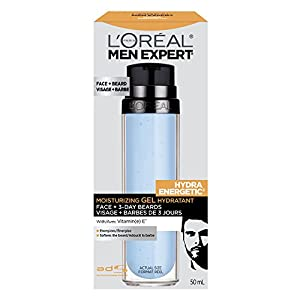 L'Oreal Paris Men Expert Hydra Energetic, Face + 3-Day Beard Gel Moisturizer With Vitamin E, 1.7Fl.oz/50ml