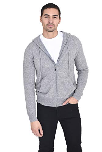 State Cashmere Men's 100% Cashmere Zip Pullover Hoodie with Drawstring Heather - Wool Sweater Drawstring