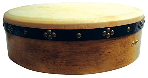 "18"" Tunable Aged Oak Bodhran - Handcrafted Irish Instrument - Crisp & Musical Tone - Hardwood Beater Included w/Purchase from Waltons"
