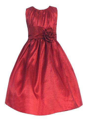 Sweet Kids Girls Pleated Taffeta Dress 12 Red (Sk 355)