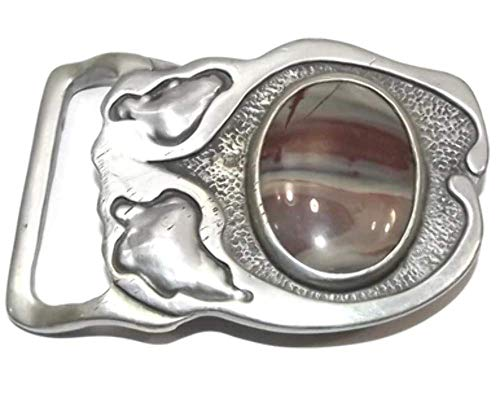 Vintage 1976 William Taylor Indiana Metal Craft Abstract Belt Buckle with Agate (Abstract Belt Buckle)