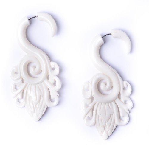 - 81stgeneration Women's Men's White Bone Fake Taper Stretcher Plug Flower Spiral Tribal Earrings