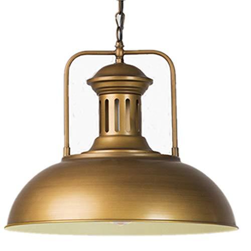 AOBOLA Industrial Pendant Light Vintage Chandelier Metal Ceiling Lighting Fixture 16in Big Hanging Lamp for Cafe Room Restaurant Club Hallway Bedroom (Brushed Golden)