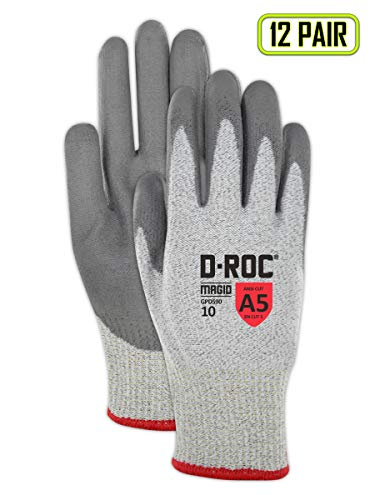 Magid D-ROC HPPE Blended Polyurethane Palm Coating Glove with Knit Wrist Cuff, Work, Salt and Pepper, Size 9 (12 Pairs)