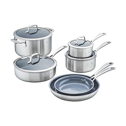 ZWILLING Spirit Ceramic Nonstick 10-pc Cookware Set, Dutch Oven, Fry Pan, Saucepan, Stainless Steel