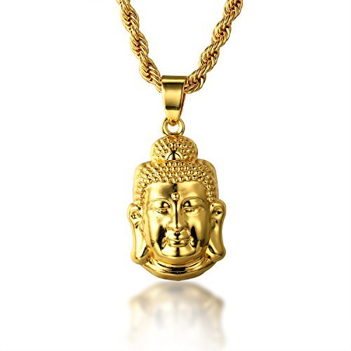 Halukakah GOLD BLESS ALL 18k Real Gold Plated 3D Buddha Pendant Necklace.Double-faced,with FREE Rope Chain 30
