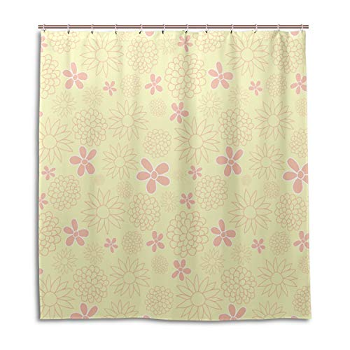 Amanda Billy NECCO Peach Blossoms Natural Home Shower Curtain, Beaded Ring, Shower Curtain 72 x 72 Inches, Modern Decorative Waterproof Bathroom Curtains
