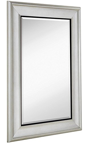 Glass Pewter Mirror - Smooth Transitional Framed Mirror | 1