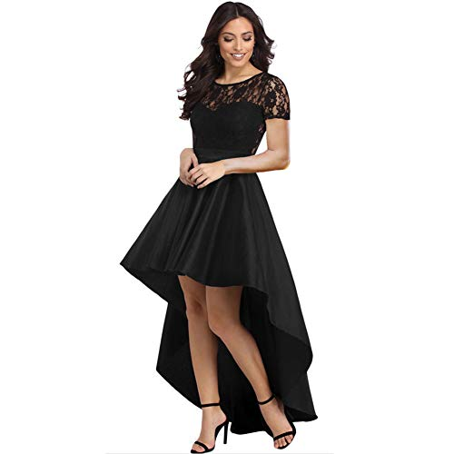 Newbestyle Womens Sexy Short Sleeve Lace High Low Satin Prom Evening Dress Cocktail Party Gowns Black XL ()