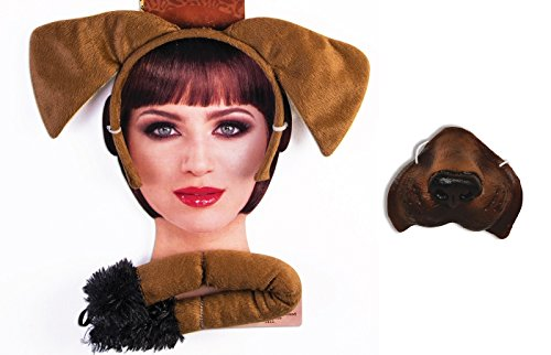 Brown Puppy Dog Kit Mini Nose Mask Ears Tail Pet Animal Costume Accessory Set]()