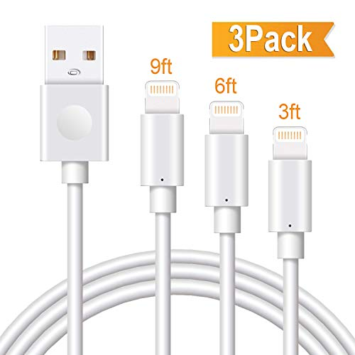 iPhone Cable, MarchPower 3Pack 3/6/10FT Certified Lightning Cable to USB Fast Charging Charger Compatiable with iPhone X Xs Max XR 8 Plus 7 Plus 6S Plus 5S SE iPod Pad Pro Touch Devices, White