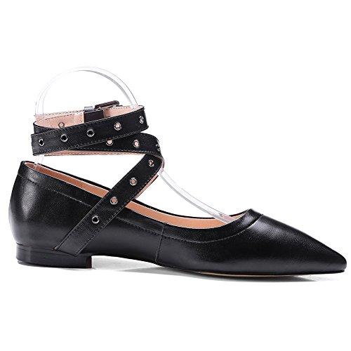 Handmade Pointy Shoes Seven Black Dress Toe Genuine Strappy Womens Flats Nine Leather xg0vww