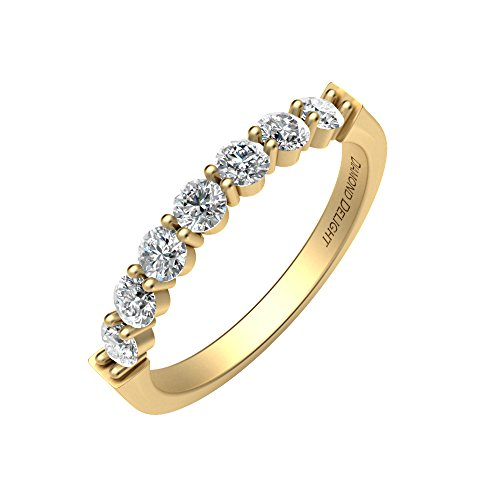 IGI Certified 18K Yellow Gold 7 Stone Prong Set Wedding/Anniversary Diamond Band Ring (1/2 Carat ) 18k Yellow Gold Designer Band