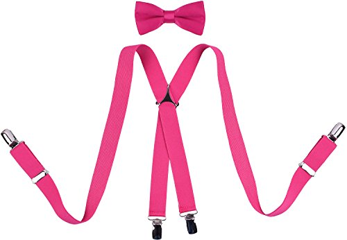 (ORSKY Men's Suspenders and Bow Tie Set X Shape 46 Inches)