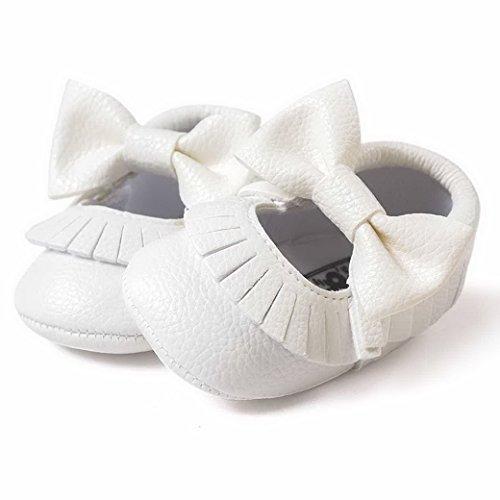 Happy Cherry Zapatos de Primeros Pasos Princesas Zapatillas de Piel PU con Borlas Lazo Suave Baby Shoes para 3 - 18 Meses Bebés Niños Niñas Blanco