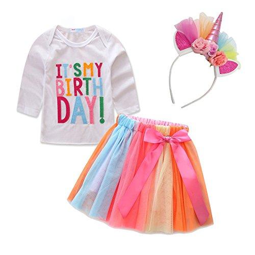 (Mud Kingdom Toddler Girl Unicorn Birthday Tutu and Shirt Long Sleeve Set)