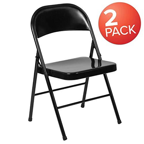 (Flash Furniture 2 Pk. HERCULES Series Double Braced Black Metal Folding Chair)