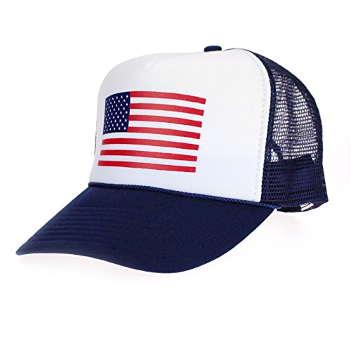 American Flag Patriotic USA Classic 5 Panel Mesh Snap Back Trucker Hat (Foam Classic Mesh Truckers Cap)