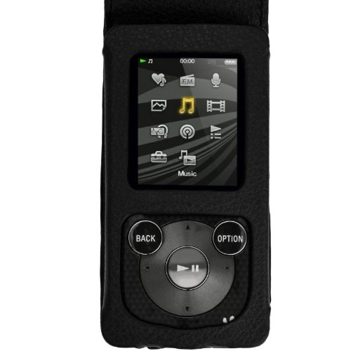 iGadgitz Black Leather Case for Sony Walkman NWZ-E384 with Detachable Carabiner + Screen Protector