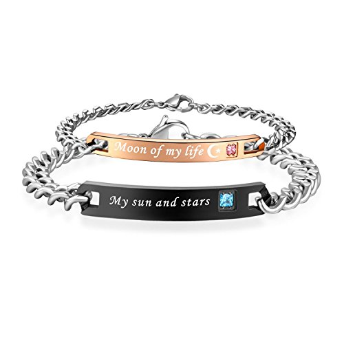jr jewelry His and her My Sun and Stars&Moon of My Life Couple Stainless Steel AAA CZ Stone Couple Bracelets Set(Price for 2 pcs)-BR461