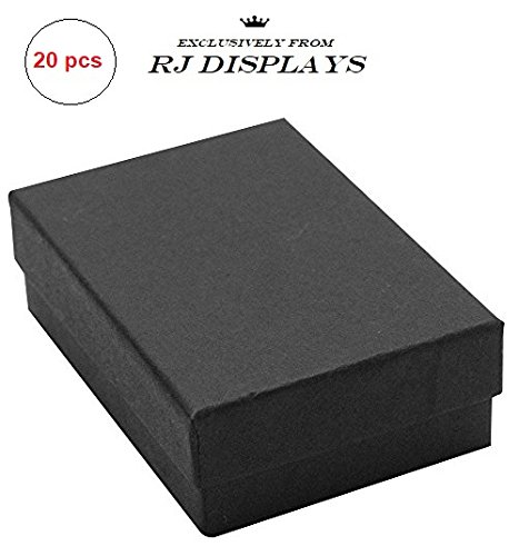 20 Pack Cotton Filled Matte Black Paper Cardboard Jewelry Gift and Retail Boxes 3 X 2 X 1 Inch #32 Size by R J Displays (Cotton Boxes Gift Necklace)
