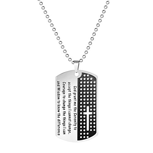 MEMGIFT Dog Tag Long Chain Silver Christian Religious for Her Necklace Inspirational Quote Message Personalized