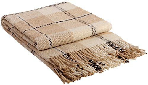 "Luxury Wool Blanket 55""x79"" by CG Home – Super Warm and Soft Beige Blanket for Cozy Fall and Winter Days –Tartan Plaid Throw Blanket Accents Any Home Décor (Twin) (Plaid Wool Blankets)"