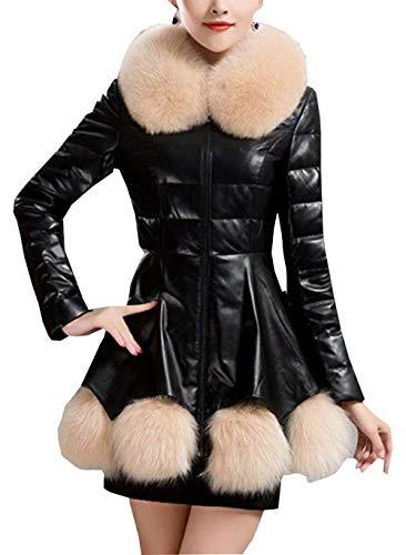 Warm longues de col femmes Manteaux fourrure mode Jacket costume Schwarz automne vestes coupe survêtement en slim avec 2 Vintage d'hiver cuir Leatherette thermique élégantes manches xHwqxYId