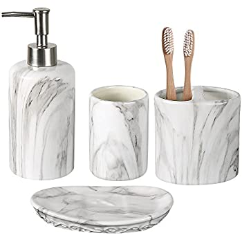Exceptionnel COOSA Ceramic Bathroom Accessories Set, 4 Pieces Bath Ensemble, Bath Set  Collection Marble Pattern
